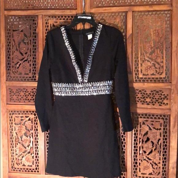 6fa68e2cbd97 Black Deep V Beaded Trim Cocktail Dress. M 5acd410685e60562b8d1d6ec
